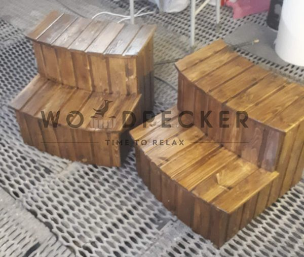 wooden rounded two tier-step